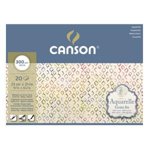 Aguarela Canson 300 gr, 25x36 cm., Gr. Fino, block 20 f.
