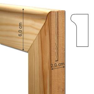 Liston madeira 16 cm. (Espessura 2 cm.) por quadros