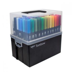 Maleta com 108 canetas de ponta dupla escova Tombow