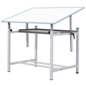 Mesa de desenho profissional ajustável com manivela e bandeja, 100x150 cm.
