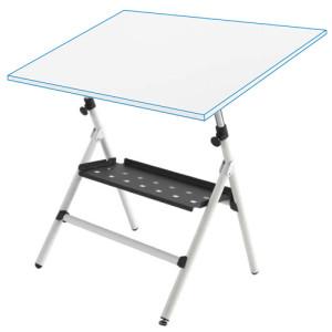 Mesa de desenho semi-profissional ajustável com molas e bandeja, 80x120 cm.