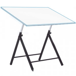 Mesa de desenho ajustável para alunos com hastes, 90x130 cm.