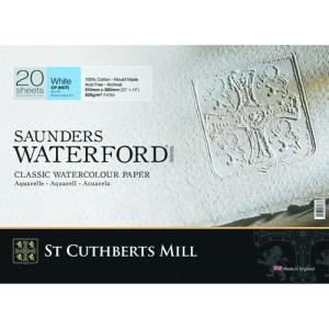 Bloco de aquarela Saunders Waterford, 300 g, 51x36 cm, 20 folhas, grão fino, branco natural