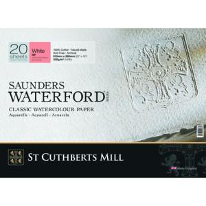 Bloco de aquarela Saunders Waterford, 300 g, 41x31 cm, 20 folhas, grão de cetim, branco natural