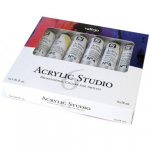 Set Acrílico Studio Vallejo 6 cores (58 ml)