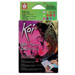 Caixa Pocket Box 12 pastilhas aquarelas (metálico e fluorescente) Sakura