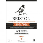 Bloco Bristol Branco Extra A3, 205 gr., 20 h. Clairefontaine