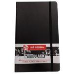 Bloco ArtCreation folhas pretas, 13x21, banda elastica, 80 f, 140 gr.
