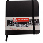 Bloco ArtCreation folhas pretas, 12x12, banda elastica, 80 f, 140 gr.