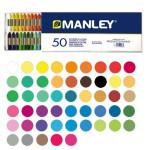 Pasteis de cera Manley, 50 cores