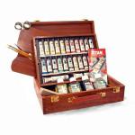 Oleo TITAN Extrafino, caixa de madeira 24 cores.