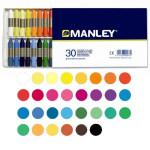 Pasteis de cera Manley, 30 cores