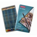 Caixa metal lapiz color Artists Derwent 12 uds.