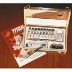 Oleo TITAN Extrafino, caixa de madeira 10 cores.