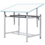 Mesa de desenho profissional ajustável com manivela e bandeja, 80x120 cm.
