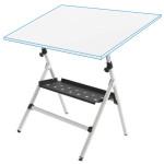 Mesa de desenho semi-profissional ajustável com molas e bandeja, 90x130 cm.