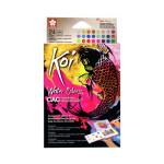 Caixa Pocket Box 24 pastilhas aquarelas (metal e fluo) Sakura